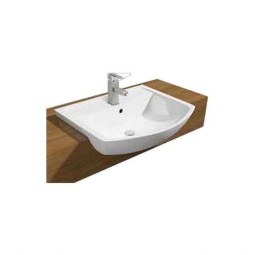Kartell Pure Semi Recessed Basin - 550mm Wide - 1 Tap Hole - White